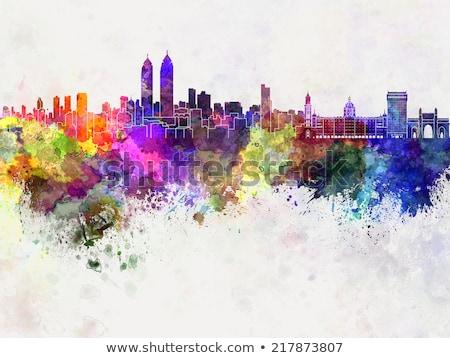 Absztrakt Mumbai sziluett szín üzleti út turizmus Stock fotó © ShustrikS