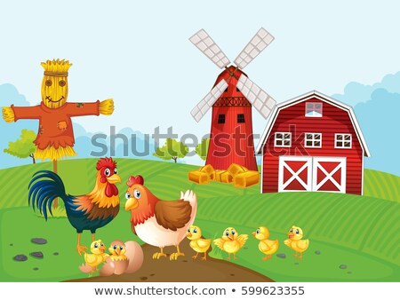 Scene with scarecrow and chickens on the farm Stock photo © bluering