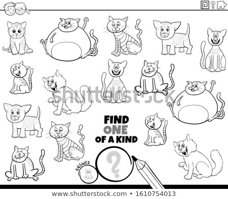 one of a kind task with cats coloring book page Stock photo © izakowski