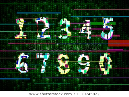 Critical error glitch numbers on green matrix symbols Stock photo © evgeny89