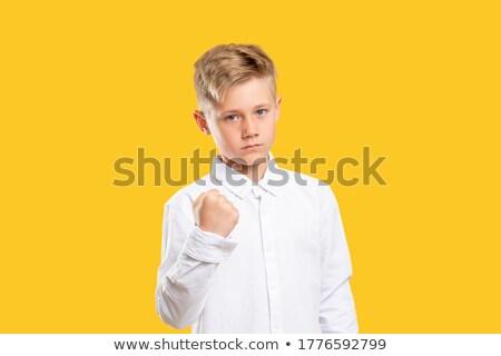 ストックフォト: 少年 · ぶれ · こぶし · 脅威 · 警告