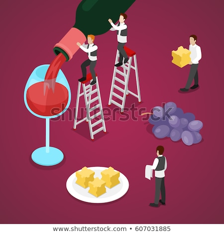 Sommelier Wine Tasting Isometric Icons Set Vector Stock photo © pikepicture