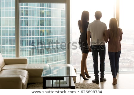 Urban people lifestyle. Businesspeople. Businesswoman enjoying coffee break at view of Vancouver har Stock photo © Maridav