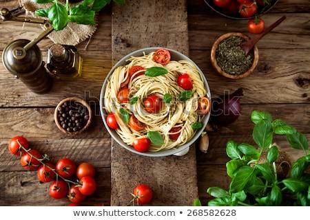 Cozinha italiana ingredientes tomates macarrão ervas temperos Foto stock © karandaev
