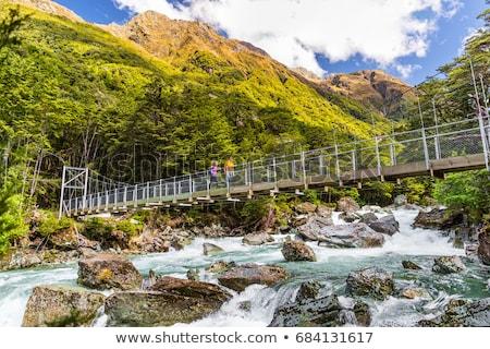 New Zealand paar backpackers rivier brug asian Stockfoto © Maridav