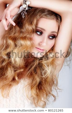 gyönyörű · eper · szőke · tinilány · boldog · zöld · szemek - stock fotó © lubavnel