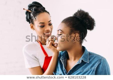 csinos · afroamerikai · smink · művész · nő · gyönyörű - stock fotó © darrinhenry