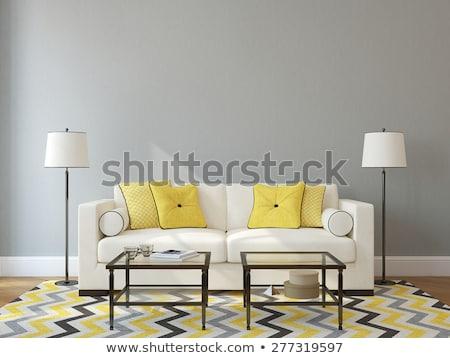 jaune · canapé · blanche · mur · design · d'intérieur · espace · de · copie - photo stock © vladacanon