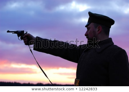 Stock photo: Retro style picture with smoking soldier.