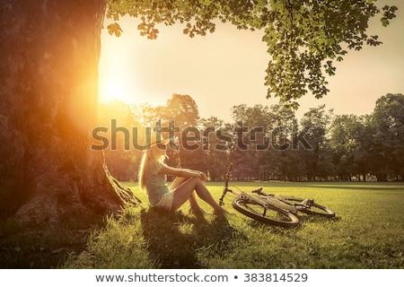 Nő megnyugtató fa égbolt tájkép mező Stock fotó © photography33