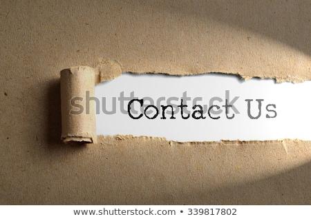 szó · rólunk · papír · kék · kéz · technológia - stock fotó © deyangeorgiev