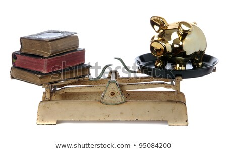 golden piggy bank on old book stock photo © pterwort