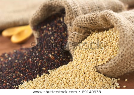 Stock photo: Raw Quinoa Grains in Jute Sack