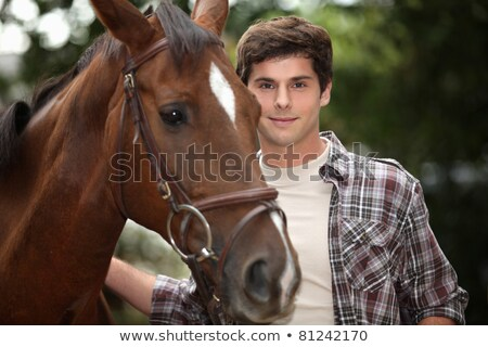 young man and a horse in the forest Stock photo © photography33