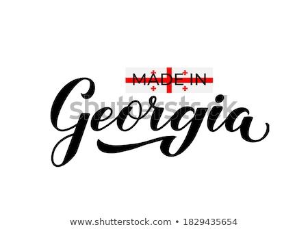 Grúzia · zászló · fehér · szív · háttér · utazás - stock fotó © perysty