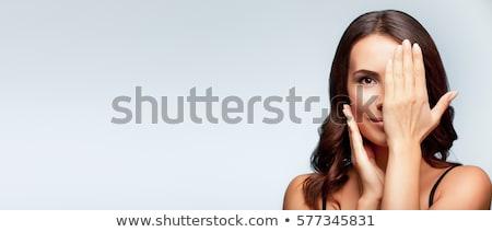 Foto stock: Jovem · morena · bandeira · retrato · alegre · mulher