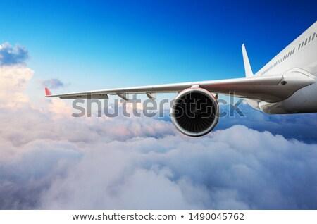 Avion aile turbine paysage cabine fenêtre Photo stock © franky242