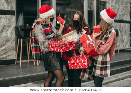 Foto stock: Natal · compras · mulher · sacos · isolado