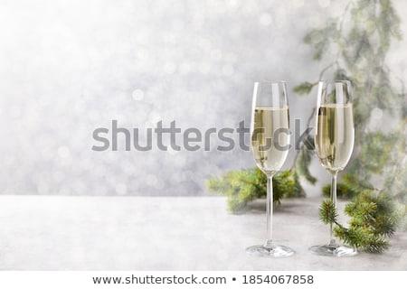 Natale · ornamenti · champagne · occhiali · neve · bella - foto d'archivio © feverpitch