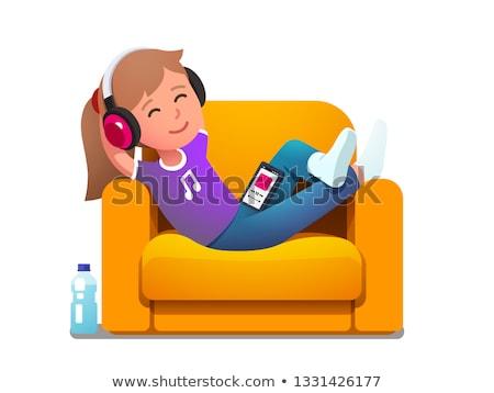 genç · kız · dinleme · müzik · mutlu · kanepe · ev - stok fotoğraf © wavebreak_media