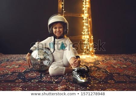 astronaut children girl with glass bubble helmet stock photo © lunamarina