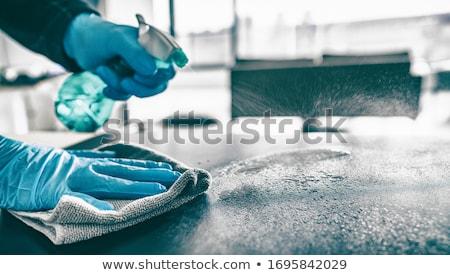 kéz · citromsárga · gumi · kesztyű · tart · takarítás - stock fotó © stocksnapper
