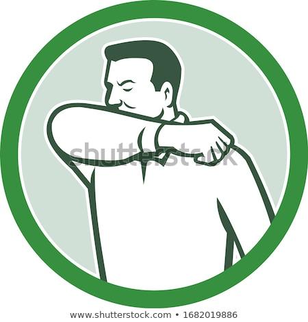 Elleboog infectie ernstig senior man geneeskunde Stockfoto © smithore