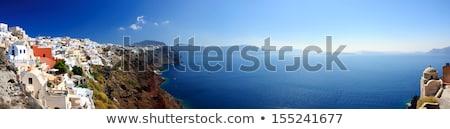 サントリーニ · 教会 · 海 · 島 · 空 · 道路 - ストックフォト © sophie_mcaulay