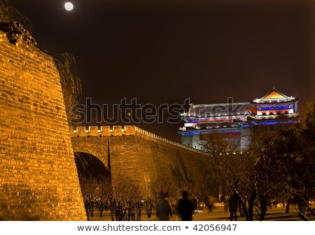 City Wall Park Night Moon Southeast Watchtower Dongguan Men Beij Stock photo © billperry