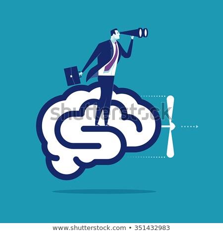 Zakenman hersenen vooruitgang denken machine wiel Stockfoto © 4designersart