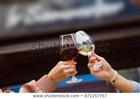 手 2 眼鏡 白ワイン 二人 食品 ストックフォト © DonLand