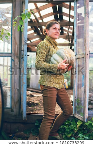 mulher · em · pé · estufa · retrato · árvore · jardim - foto stock © travnikovstudio