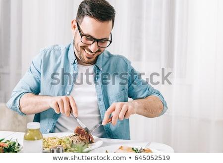 vrienden · maaltijd · eettafel · toast · witte · wijn · voedsel - stockfoto © photography33