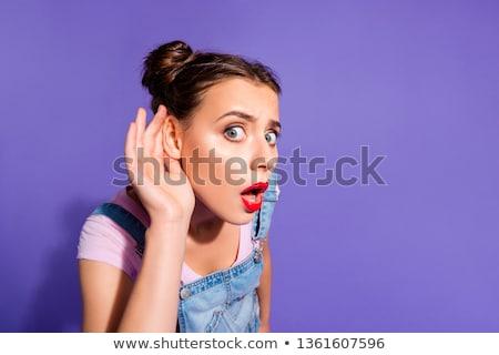 Feliz mulher escuta fofoca brilhante quadro Foto stock © dolgachov