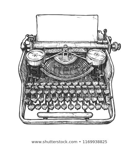Foto stock: Vintage · máquina · de · escrever · caneta · papel · elegante · bloco · de · notas