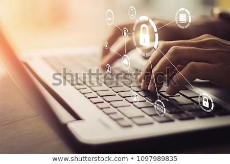 veiligheid · witte · hangslot · digitale · 3D · computer - stockfoto © tashatuvango