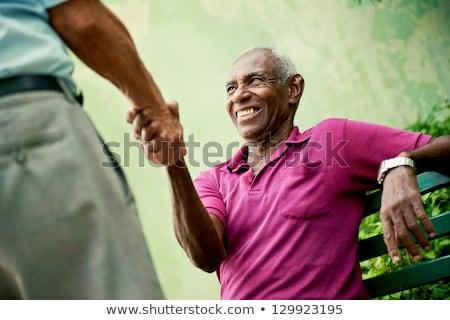 green black handshake Stock photo © Nelosa