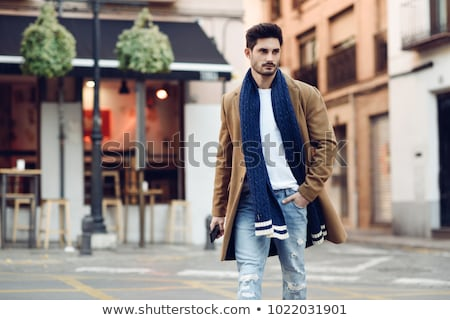 retrato · sério · moço · inverno · roupa · branco - foto stock © hasloo