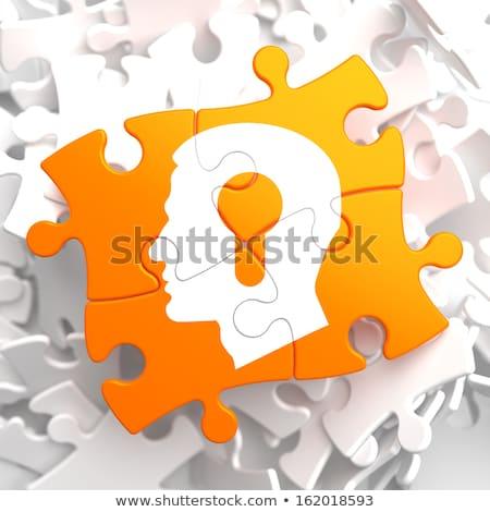 puzzel · profiel · hoofd · sleutelgat · man · achtergrond - stockfoto © tashatuvango