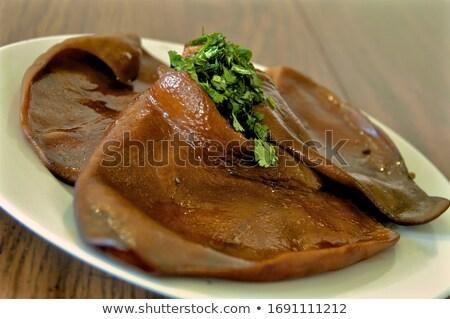 kínai · étel · saláta · gomba · fehér · tányér · levél - stock fotó © bbbar