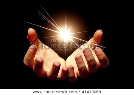női · kezek · tart · zseniális · csillogás · sötét - stock fotó © oly5
