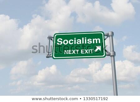 socialismo · rojo · blanco · gestión · etiqueta - foto stock © chrisdorney