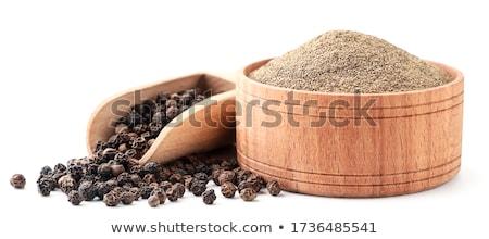 Pimienta negro cuchara de madera blanco textura fondo cocina Foto stock © michaklootwijk