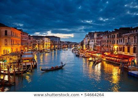 gondolas on grand canal at night stock photo © nejron