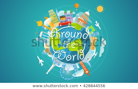Earth with airplane and voyage bag Stock photo © cherezoff