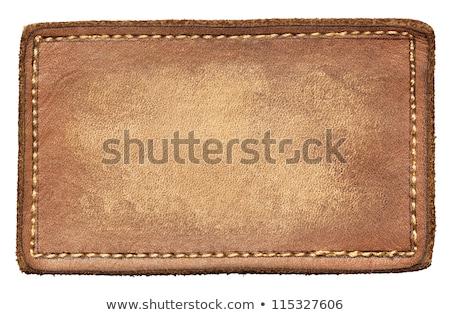 Stockfoto: Leder · label · tag · katoen · weefsel · materiaal