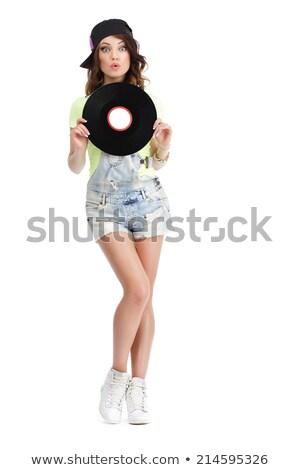 Cute jonge vrouw jeans shorts vinyl Stockfoto © gromovataya