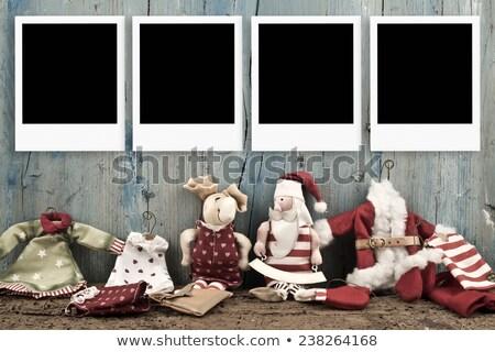 Christmas four empty photo frames Santa doll Stock photo © marimorena