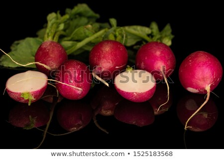 A line of five radishes on white Stock photo © lucielang