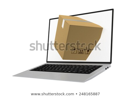 laptop with package shipment demonstrating the concept of online ordering of products Stock photo © hd_premium_shots